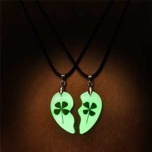 Clover Couple Necklace Heart Shape Glowing In The Dark  Couple Necklaces
