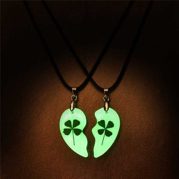 Clover Couple Necklace Heart Shape Glowing In The Dark