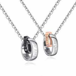 Her King His Queen Stainless Steel Couple Pendant Necklace Set