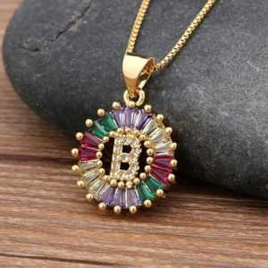 Gold Color Initial Multicolor CZ Necklace Charm Letter Necklace Name Jewelry For Women  Jewelry Necklaces Women's Necklaces
