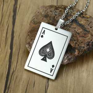 Lucky Ace Of Spades Stainless Steel Necklace Silver Tone Poker Pendant  Jewelry Mens Necklaces Necklaces
