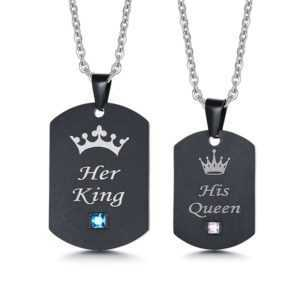 Black Color Stainless steel + AAA CZ Stone His Queen Her King Couple Necklace