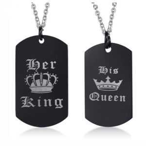 Her King and His Queen Pendant Necklace Engraved Crown Charm Love
